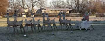 Outdoor Reindeer Decorations Folk Art Outside Santa Displays From Family Christmas Online