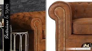 canap chesterfield microfibre canapé 3 places chesterfield microfibre finition cuir marron vieilli