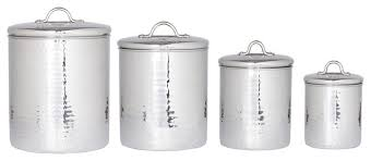 metal kitchen canister sets 4 pc stainless steel hammered canister set with fresh seal covers