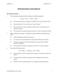 worksheet 7 1 stoichiometric calculations