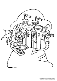 dragon in the castle coloring pages hellokids com