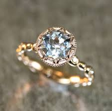 flower engagement ring vintage 14k gold floral aquamarine engagement ring in pebble