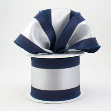 navy blue and white striped ribbon 2 5 satin team stripe ribbon navy grey 10 yards rn5272cg