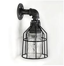 Galvanized Outdoor Light Fixtures Industrial Wall Sconce Galvanized Pipe Lighting W Jar For