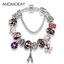 flower beaded bracelet images 2018 antique silver color eiffel tower pandora charm bracelet jpg