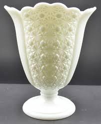 vintage fenton art glass daisy button milk glass pattern square