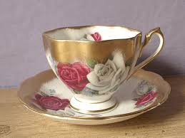 roses teacups vintage tea cup and saucer set white gold