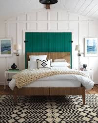 teal accents white airy beach bedroom w variety of textures from