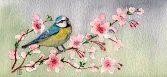 bird on cherry blossom tree painting by of