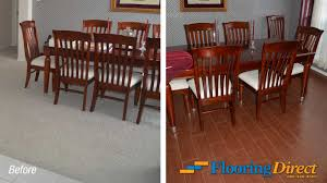 old builder grade flooring vs new wood look tile flooring