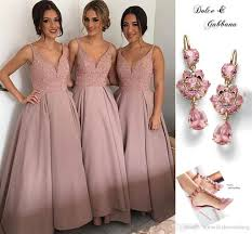 affordable bridesmaid dresses pink ankle length bridesmaid dresses v neck spaghetti sequins