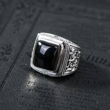 aliexpress buy mens rings black precious stones real vintage black 100 925 sterling silver ring for mens with