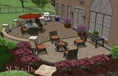 Backyard Brick Patio Design With Grill Station Seating Wall And by Creative Brick Patio Design With Pergola Fire Pit Seat Walls And