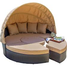 Outdoor Wicker Patio Furniture Round Canopy Bed Daybed - garden daybed with canopy stunning pc cushioned wicker patio