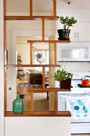 room divider shelves wood made of bamboo boxes supported by