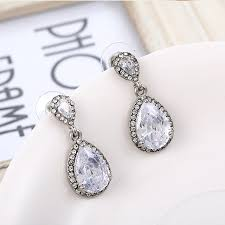 heavy diamond earrings 2017 luxury zircon big waterdrop heavy drop earrings sparkling