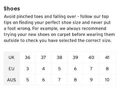 shoe size chart topshop mob size guide shoes topshop