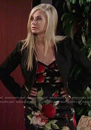 ashley s hairstyles from the young and restless wornontv ashley s black rose print dress on the young and the