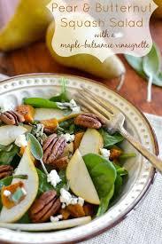 pear butternut squash salad with maple balsamic vinaigrette