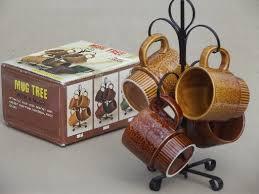 Tree Mug Retro Mug Tree Set 70s Vintage Japan Ceramic Coffee Mugs Rack