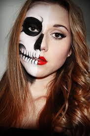 easy cat halloween makeup a few sparks half skull face perfect for trick or treating with