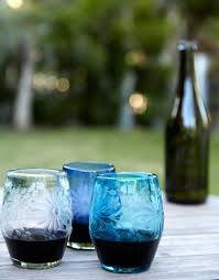 hand etched recycled stemless wine glass fair trade dark blue