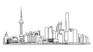 shanghai city outline animation hand drawn sketch build up and
