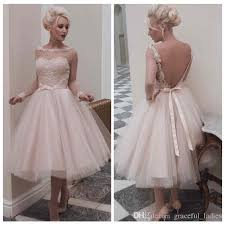 50 S Style Wedding Dresses Discount Vintage Champagne Short Wedding Dress Long Sleeves Knee
