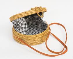 open weave gingham round wicker straw bag polkadee