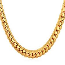 gold chain necklace snake images U7 18k gold plated chain men summer jewelry 6mm unique jpg
