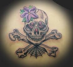girly skull and crossbones by rowe tattoonow