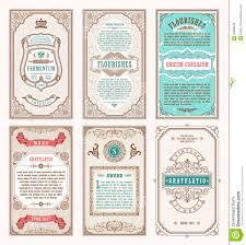vintage set retro cards template greeting card wedding invitation