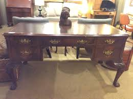 hekman desk leather top leather top desk ballard consignment