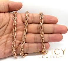 rose gold rope chain bracelet images 14k rose gold solid diamond cut rope chain 24 26 inch 6 50mm jpg