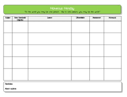 multi subject daily blank lesson plan with columns for subject