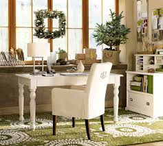 office elegant white country office decor with green floral rug