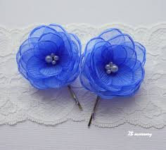 cornflower blue hair flowers small organza flower bridal hair