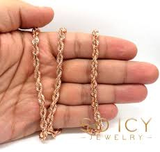rose gold rope bracelet images 14k rose gold solid diamond cut rope chain 24 26 inches 5mm jpg