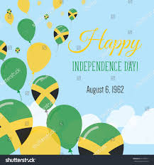 Jamaican Flag Day Jamaica Independence Day Greeting Card Flying Stock Vector