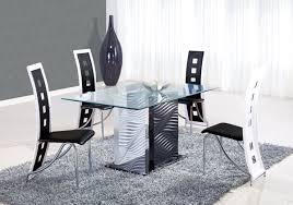 Modern Rectangular Solid Glass Dining Table With Black Chairs And - Black glass dining room sets