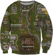 Oldschool Runescape World Map by Map Sweatshirt Runescape Old Sweater