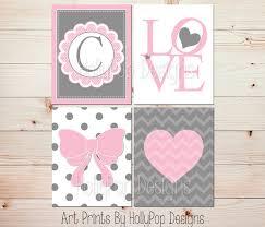 Pink And Grey Girls Bedroom Pink Gray Girls Room Wall Art Monogram Print Heart Nursery Art