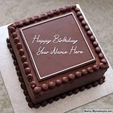 write name on elegant square cake happy birthday cake with name