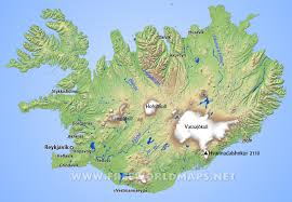iceland map iceland physical map