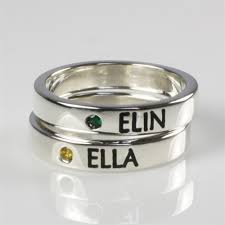 name rings for mothers stackable name ring with birthstone