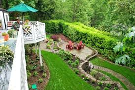 Slope Landscaping Ideas For Backyards Backyard Landscaping Slope Sloped Backyard Garden Idea And