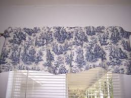 Toile Window Valances Navy Delft Blue White Waverly Rustic Toile Scalloped Lined Valance