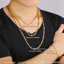 mens figaro chain necklace images U7 classic figaro cuban link chain necklace 18k real gold plated jpg