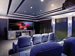 interior amazing home theater room with two level seating