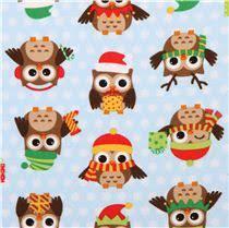 blue christmas owl flannel fabric holiday hoot christmas fabric